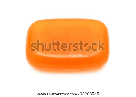 Orange soap isolated on white background