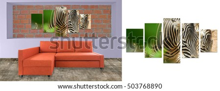 orange sofa furniture and nature photo collage on brick wall. Hi resolution photo complementary with clipping path