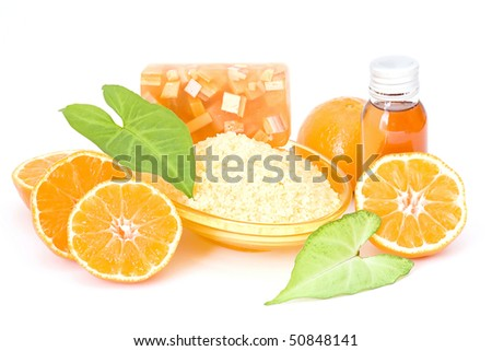 orange spa products - stock photo