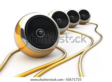 Orange speakers - stock photo