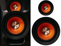 Orange Speakers on a white background