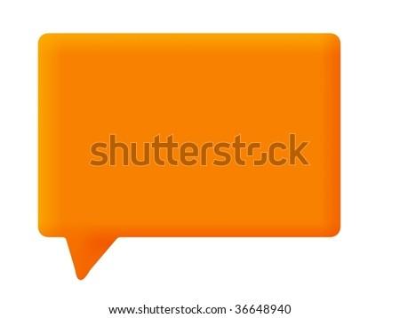Orange speech bubble on white background