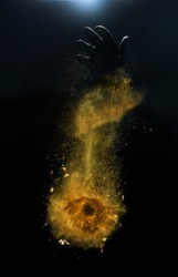 Orange spices powder explosion, flying pepper on black background. Freeze motion photo