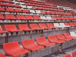 orange stadium seats close up