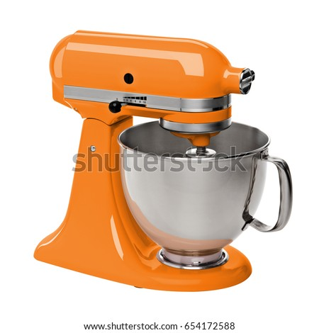 Orange stand / kitchen mixer isolated on white background including clipping path.