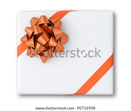 Orange star and Oblique line ribbon on White paper box and shadow