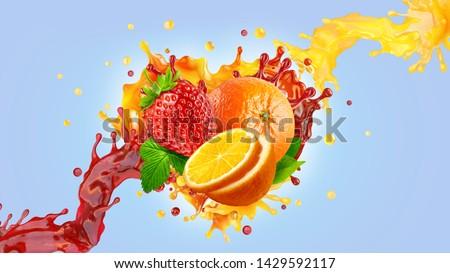 Orange strawberry fresh fruit juices mix blend liquid swirls 3D splashes. Healthy fruits berries juice splashing together - orange, strawberry juices in two wave swirls form. Liquid drink label design