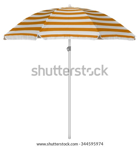 Orange striped beach umbrella isolated on white. Clipping path included. #344595974