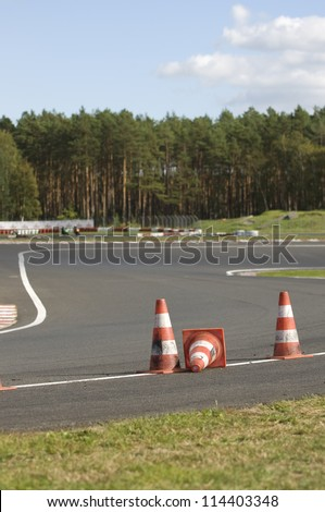 orange striped cones on the motorbike track motoGP