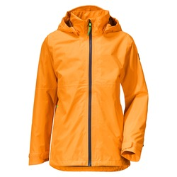 Orange Stylish Rain Jacket Isolated on White Background. Waterproof Coat with Detachable Hood & Adjusted Cuffs Front View. Warm Outwear Cotton Windproof Fabric. Best Outdoor Clothing for Hiking Travel