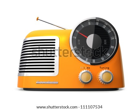 orange stylish retro radio(front view)
