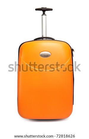 Orange suitcase for travel
