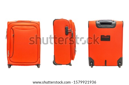 Orange suitcase on wheels isolated on white background
