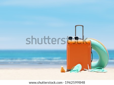 Orange suitcase with beach accessories on sand, sea and sky background. summer travel concept. 3d rendering Stock foto ©