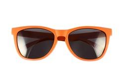 Orange sun glasses isolated over the white background