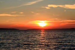 orange sundown in Fazana with view to Brioni, Croatia