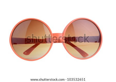 orange sunglasses isolated on a white background