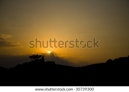 Orange sunset in the mountains, Crimea, Ukraine