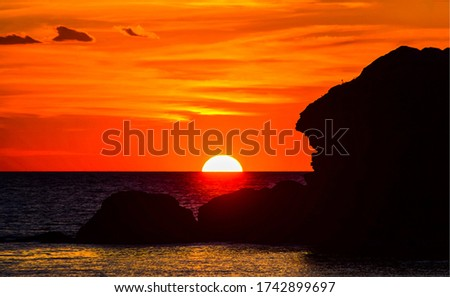 Orange sunset sea horizon view. Sunset sea horizon landscape. Sea sunset scene