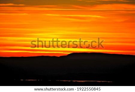 Orange sunset sky horizon view. Orange sunset horizon. Sunset sky horizon view. Sunset orange view