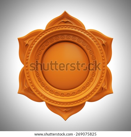 orange Svadisthana spleen chakra base, 3d abstract symbol, isolated color design element Stock photo ©