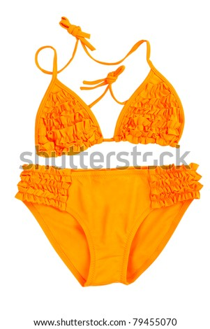 orange swimsuit isolated on white background