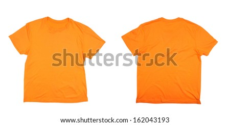 Orange t-shirt front and back. Isolated on a white background.