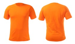 Orange t-shirt mock up, front and back view, isolated. Plain orange shirt mockup. Tshirt design template. Blank tee for print