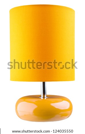Orange table lamp isolated on white background