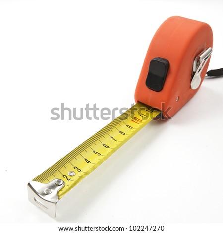 Orange Tape measure isolated on white background