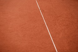 Orange tennis court white lines background. Sport, recreation and training concept. Background for tennis, rugby, cricket, baseball and paddle school banner