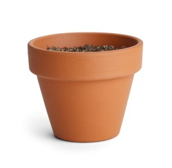Orange Terracotta Pot with Soil Isolated on White Background.