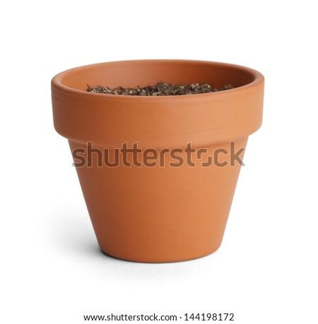 Orange Terracotta Pot with Soil Isolated on White Background. #144198172