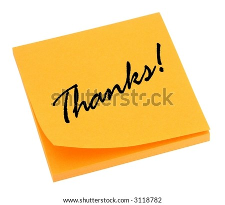 Orange thank you note isolated on white.