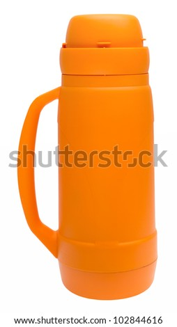 Orange thermos flask with clipping path