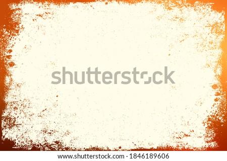 Orange toned grunge frame worn texture on light yellow empty background. Foto stock ©
