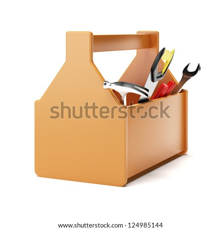 Orange toolbox isolated on a white background
