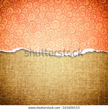 orange torn paper edge with pattern over canvas background