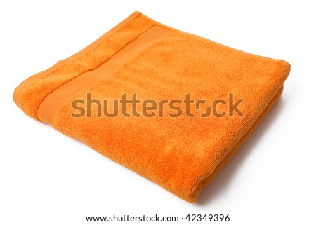 orange towel on white background