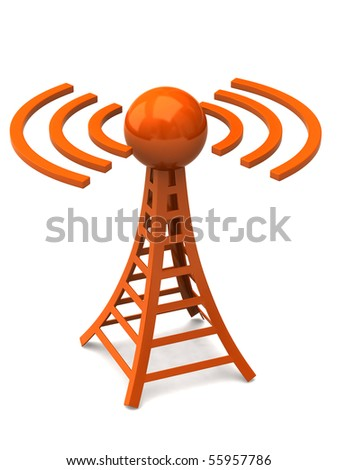 Orange tower with radio waves
