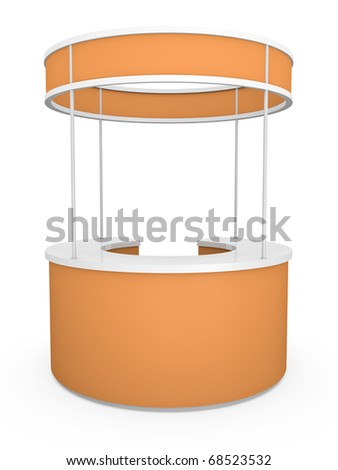 Orange trade stand. 3D rendered illustration.