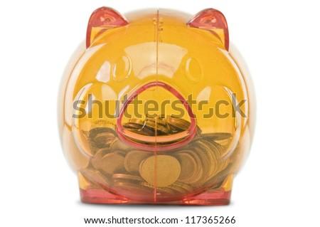 orange translucent piggy bank on pure white background