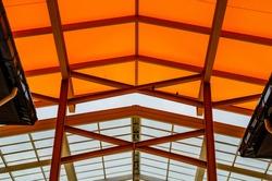 Orange translucent roof or orange skylight roof, Thailand.