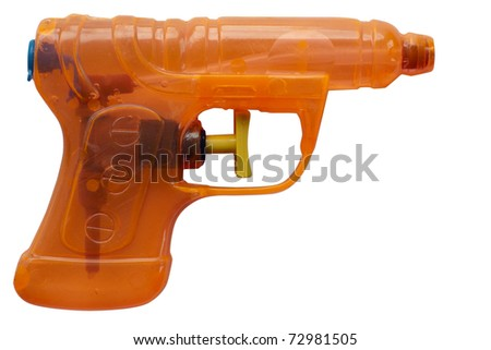Orange transparent plastic water pistol isolated on a white background. Clipping path included.