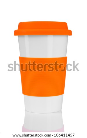 orange travel mug isolated on white