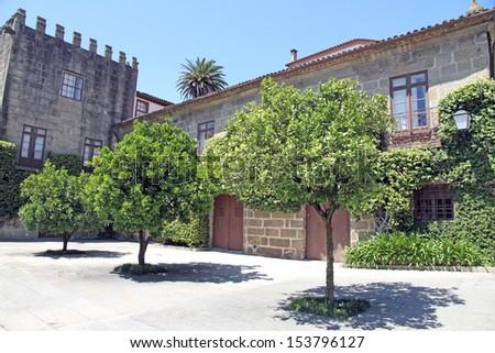 Orange trees square Guimaraes Portugal