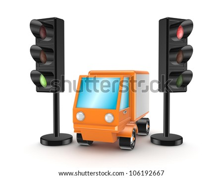 Orange truck between traffic lights.Isolated on white background.3d rendered.