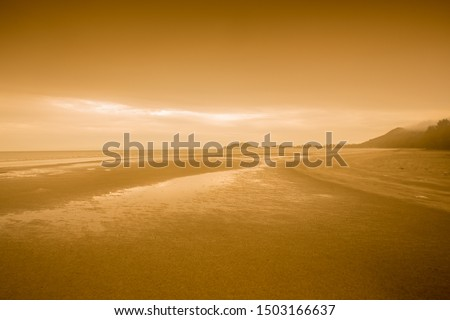 orange twilight sky scenery  seashore at  Thailand