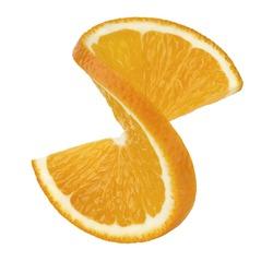 Orange twist slice 2 isolated on white background as package design element
