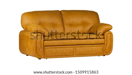 Orange two-seat leather sofa isolated on white background